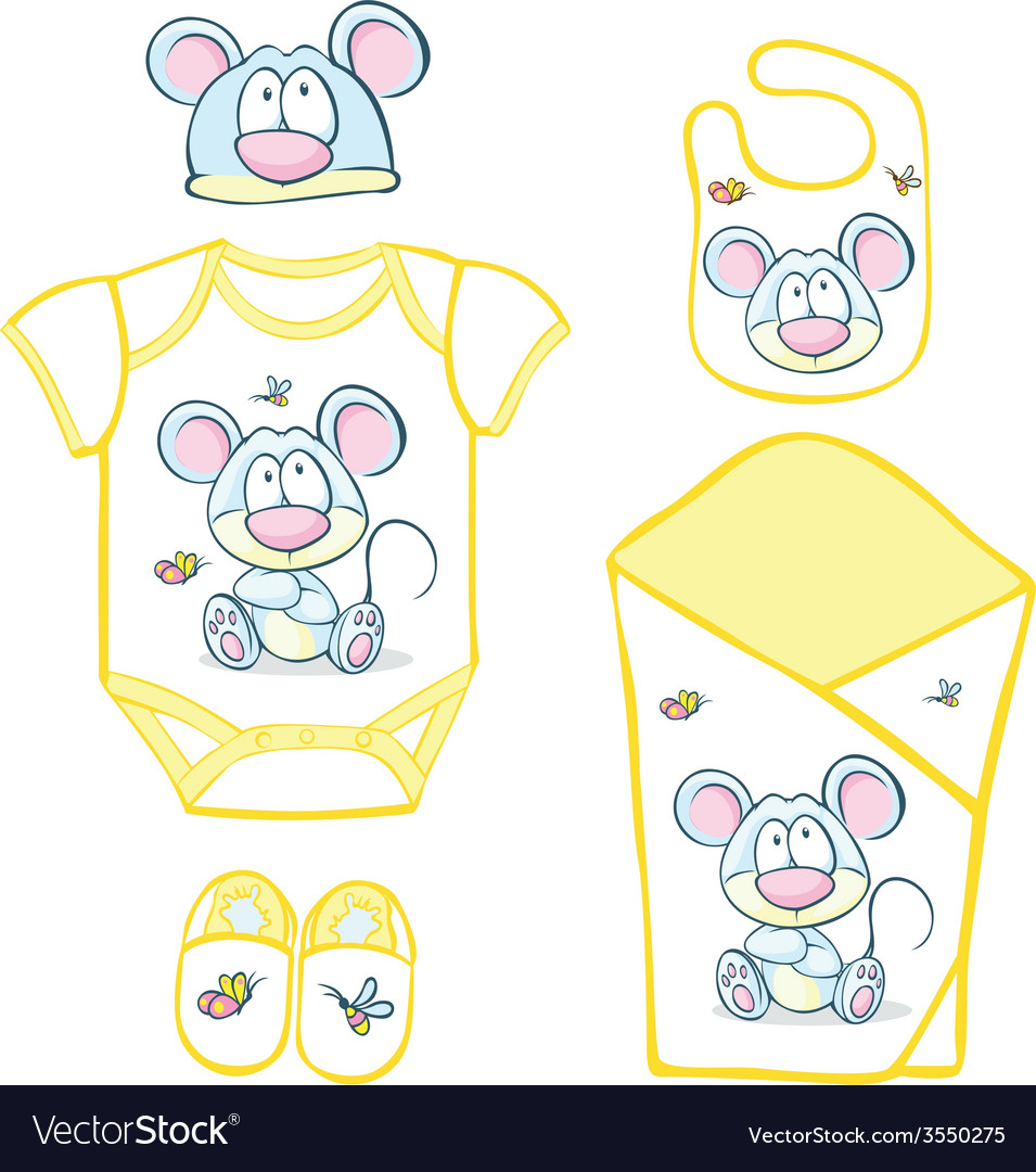 Cute baby layette with mouse and butterfly - vector | Price: 1 Credit (USD $1)