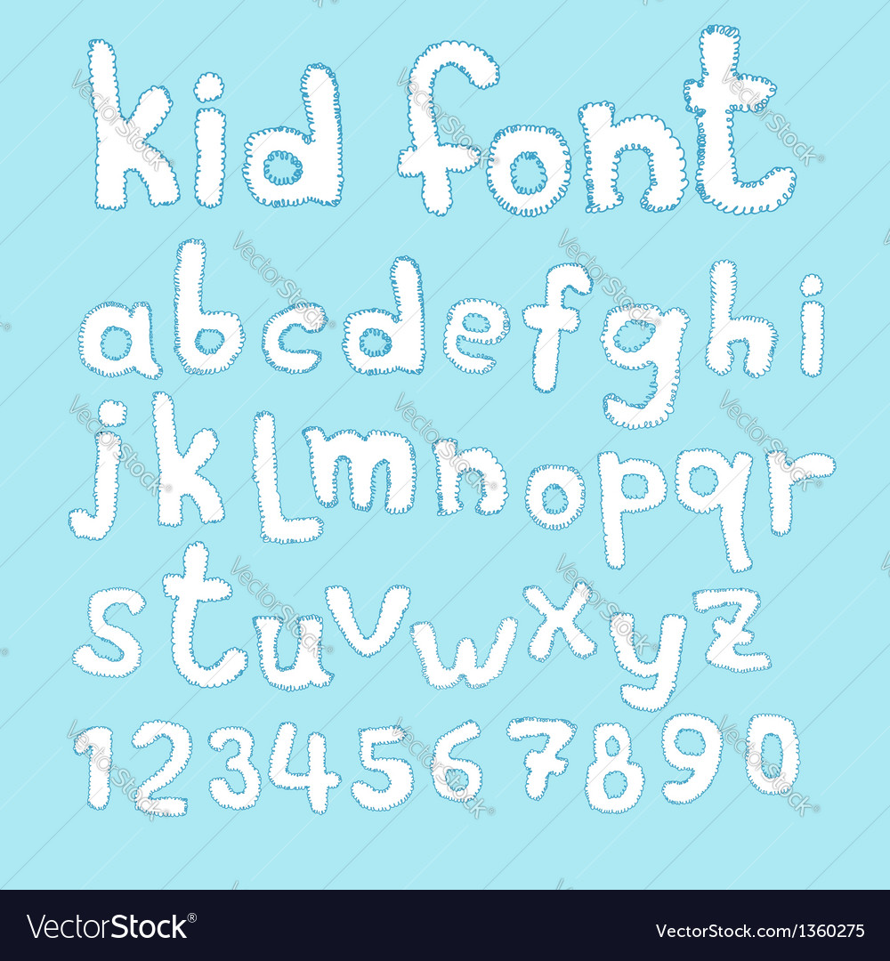 Doodle kid abc typeset vector | Price: 1 Credit (USD $1)