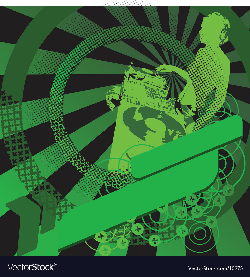 Green girl dj and banner vector | Price: 1 Credit (USD $1)