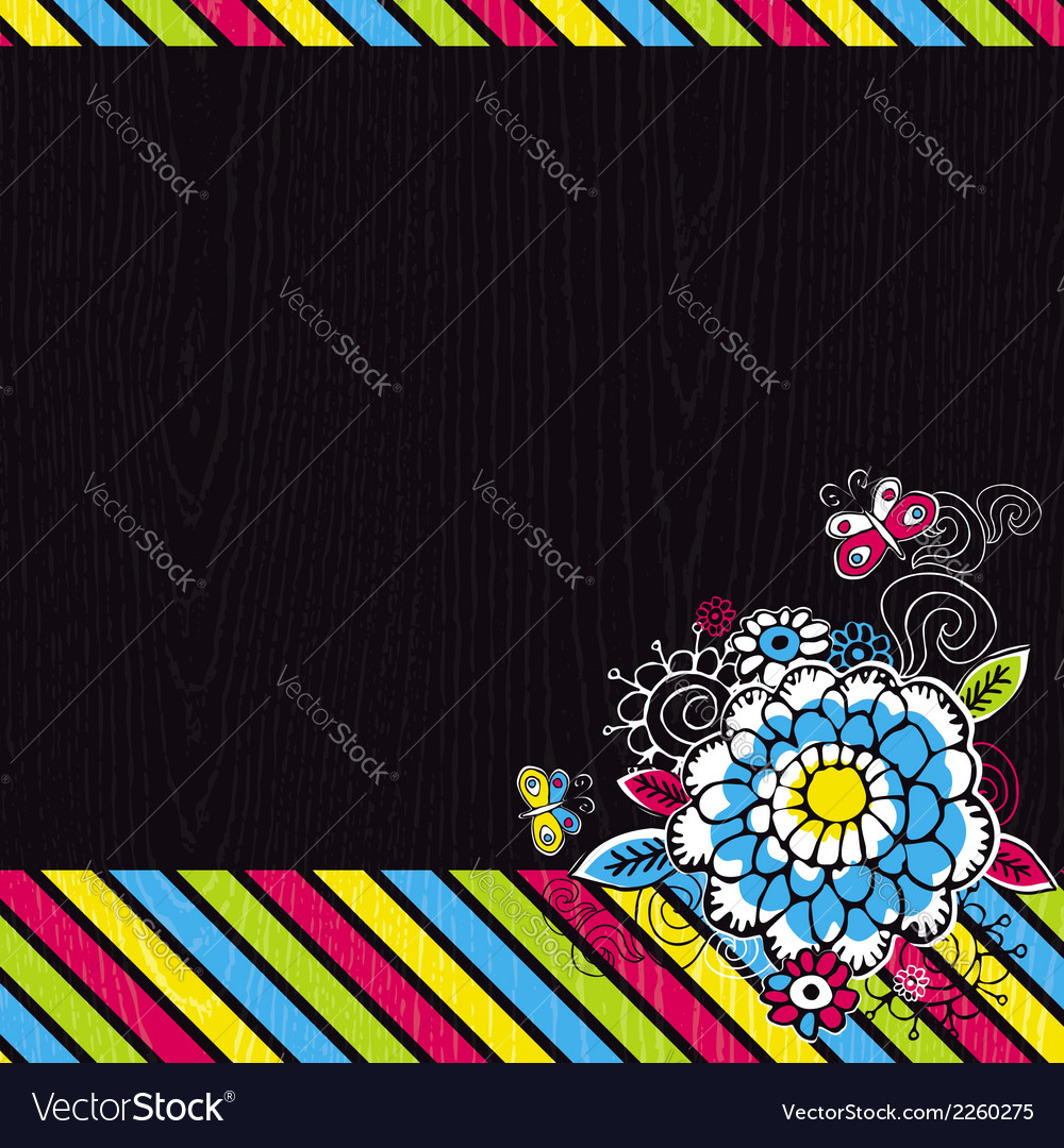 Hand draw flowers on black background vector   Price: 1 Credit (USD $1)