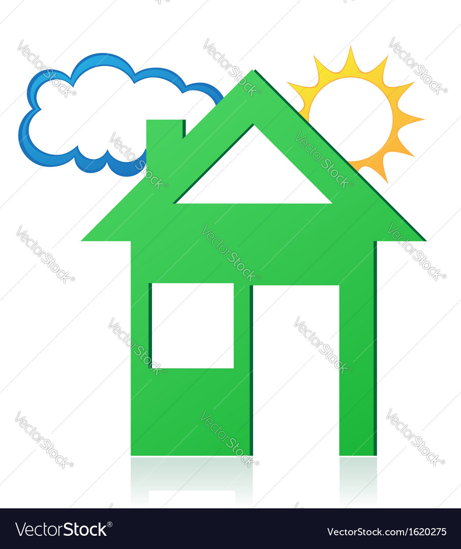 House sun and cloud concept 02 vector | Price: 1 Credit (USD $1)