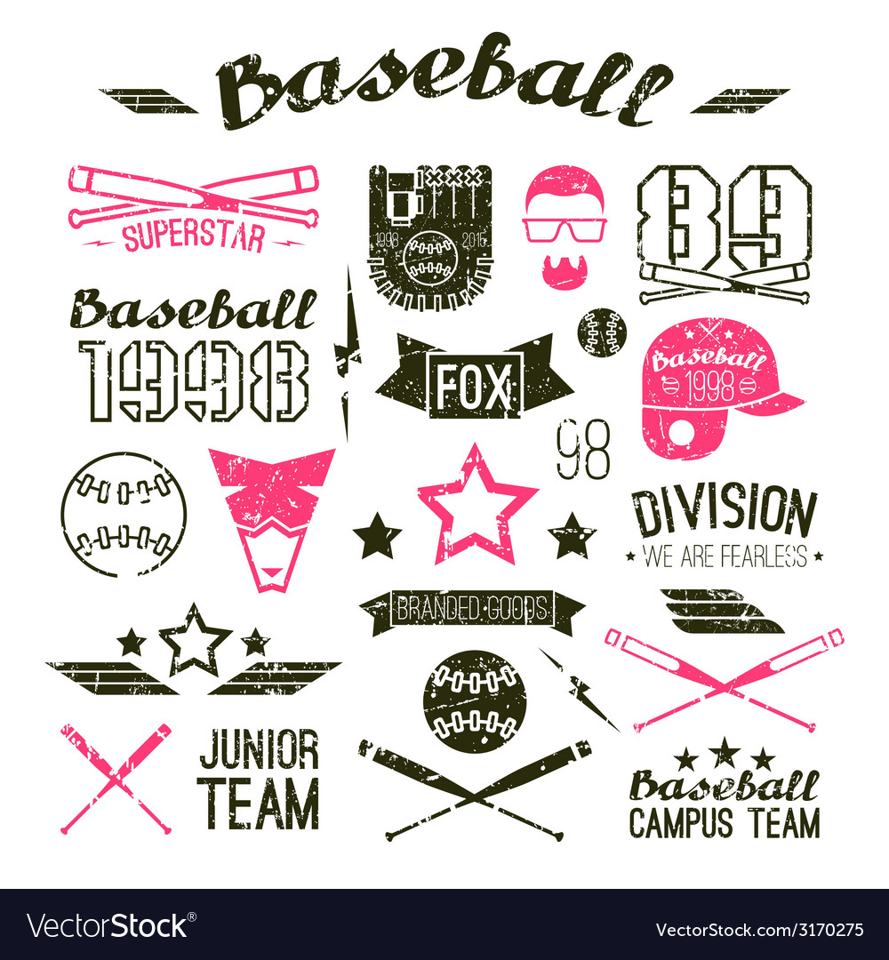 Icons baseball campus team vector | Price: 1 Credit (USD $1)