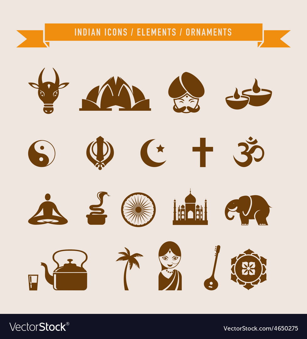 India  collection of icons and elements vector