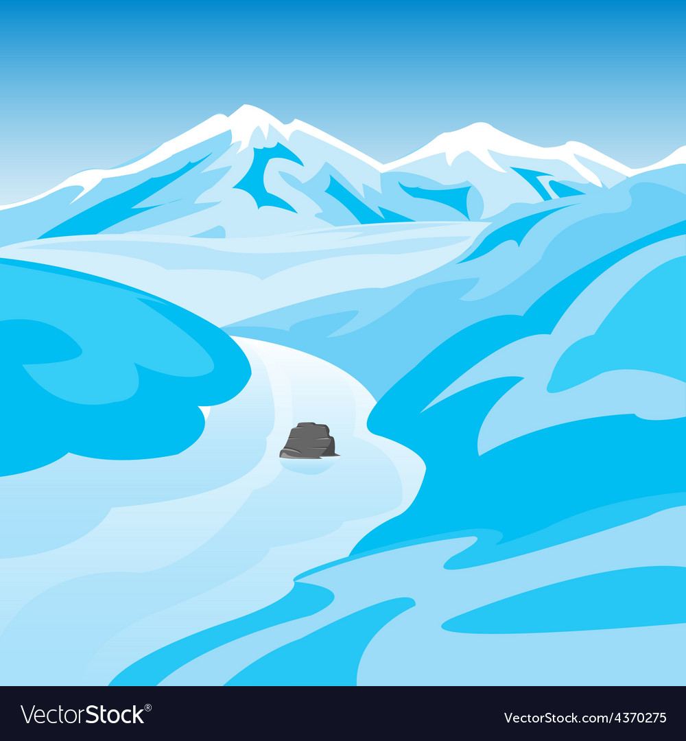 Mountains and river in winter vector   Price: 1 Credit (USD $1)