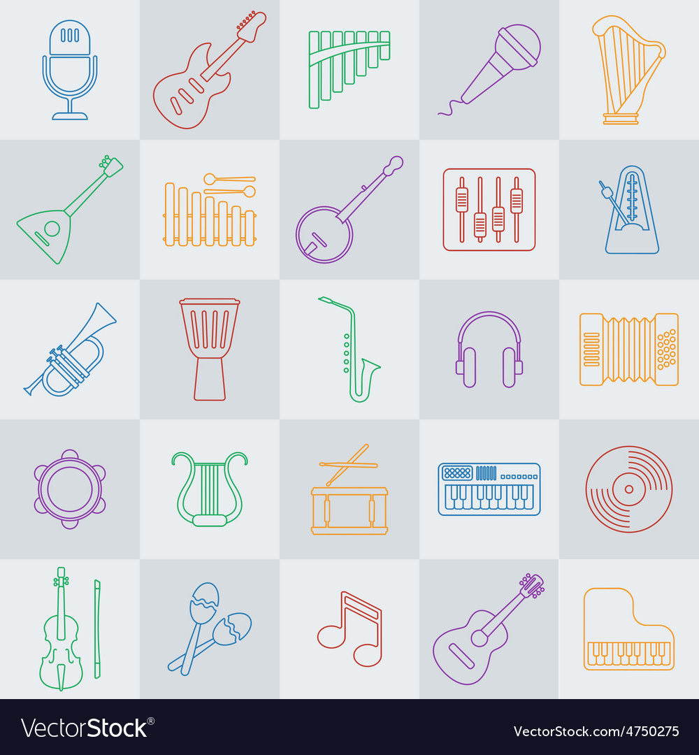 Musical instrument line icon vector | Price: 1 Credit (USD $1)