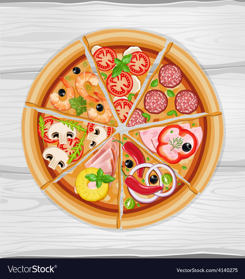 Pizza slice assorted vector | Price: 1 Credit (USD $1)