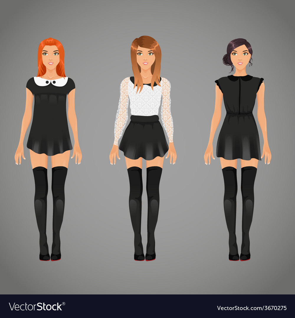 Pretty females in different black and white collar vector | Price: 1 Credit (USD $1)