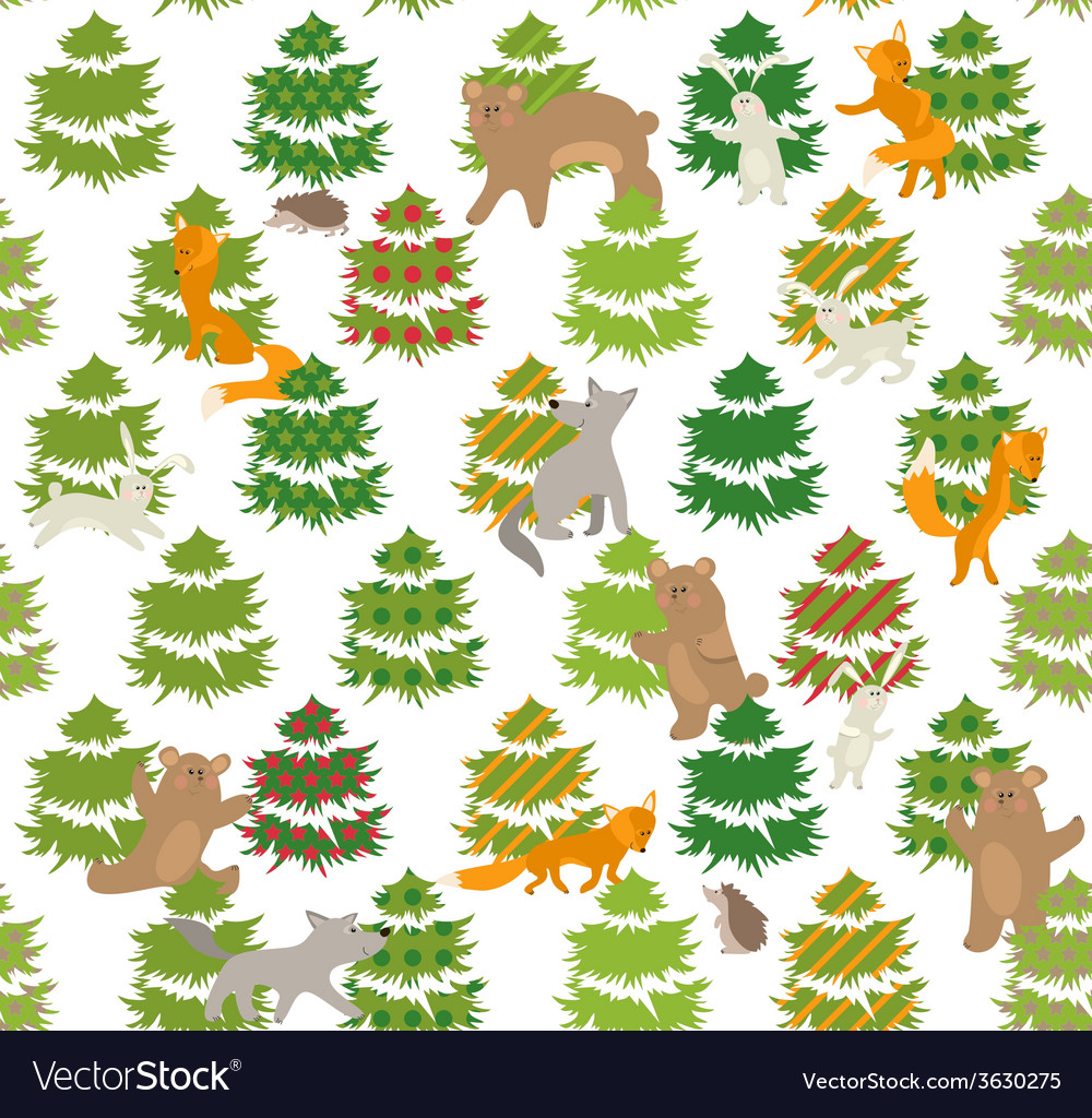 Seamless green pattern with trees and animals vector | Price: 1 Credit (USD $1)
