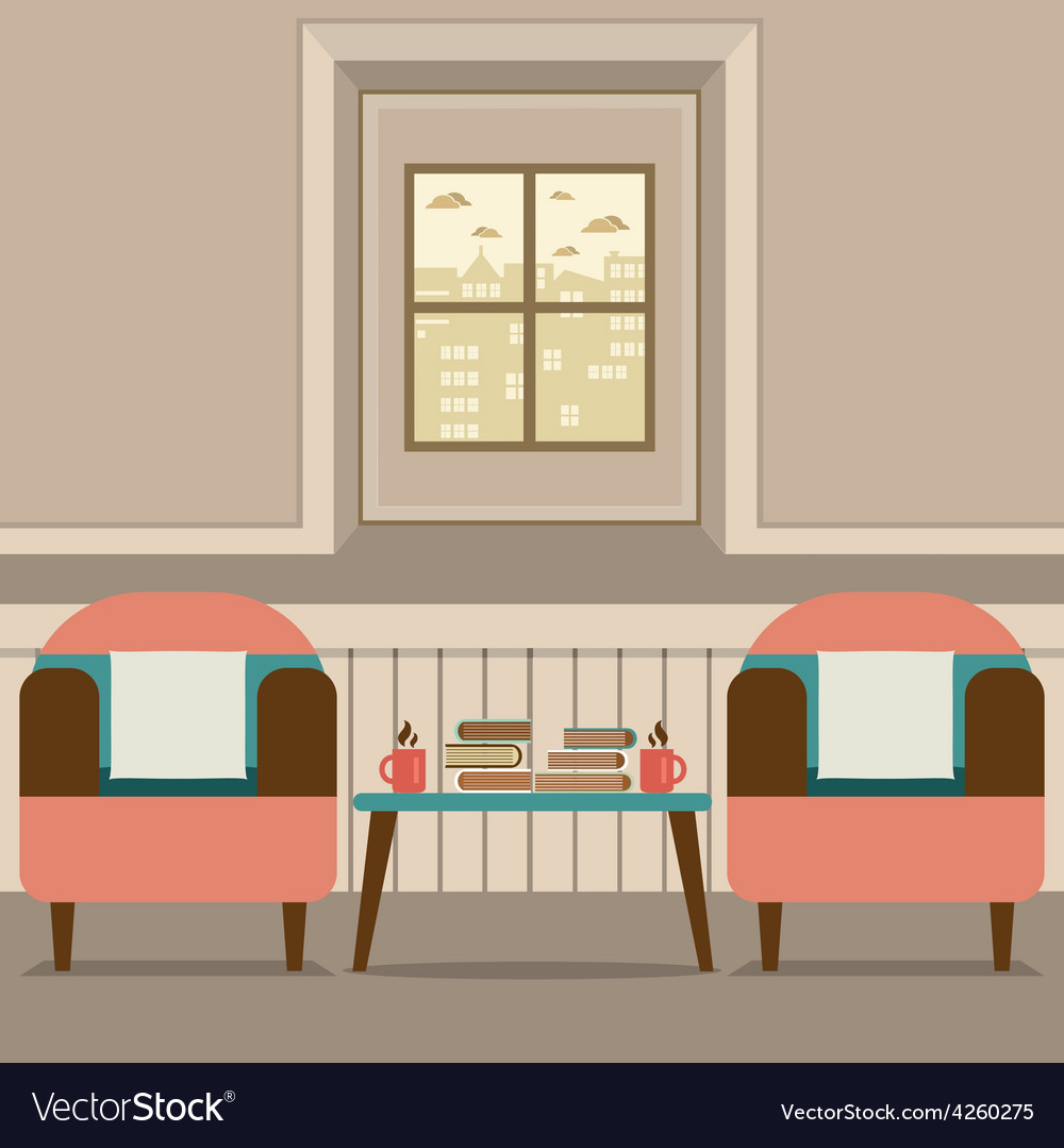 Two sofas with hot coffee cup and books on table vector | Price: 1 Credit (USD $1)