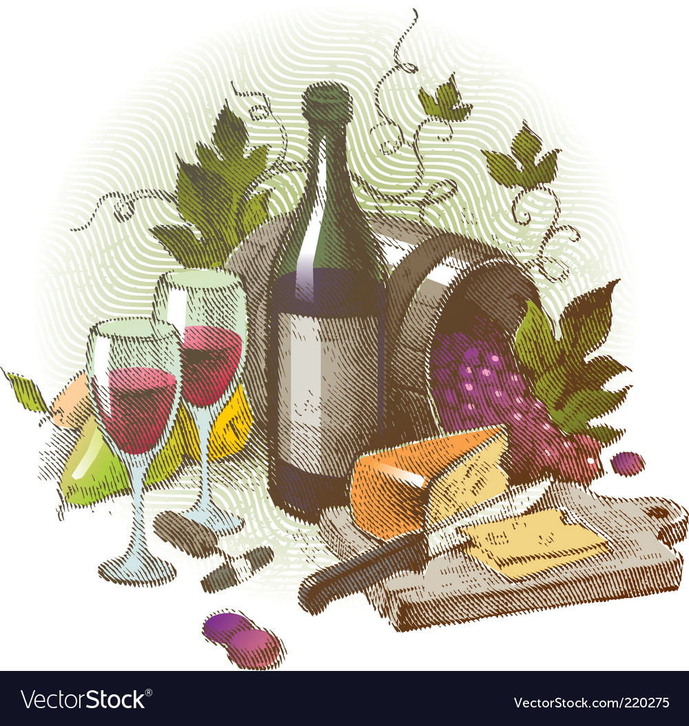 Vintage still life with wine vector | Price: 1 Credit (USD $1)