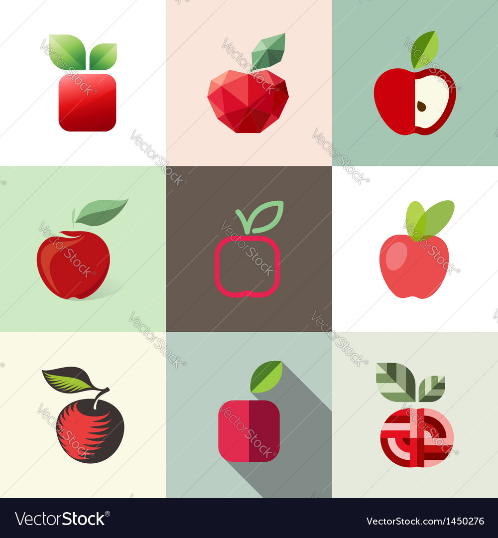 Apple - logo templates set - elements for design vector | Price: 1 Credit (USD $1)