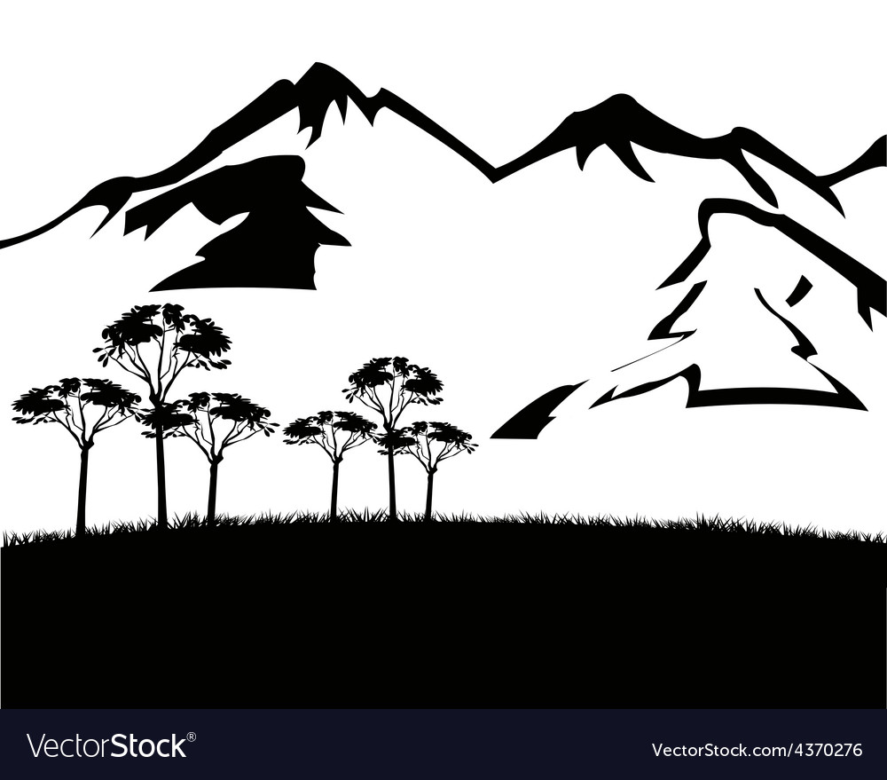 Black white landscape with mountain vector