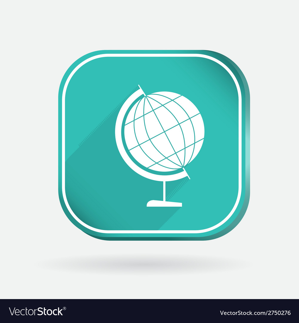 Globe color square icon vector | Price: 1 Credit (USD $1)