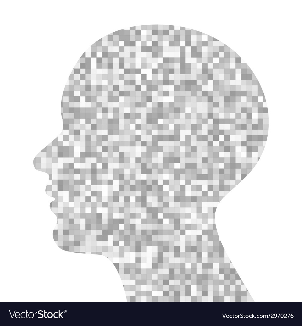 Gray pixeated profile vector | Price: 1 Credit (USD $1)