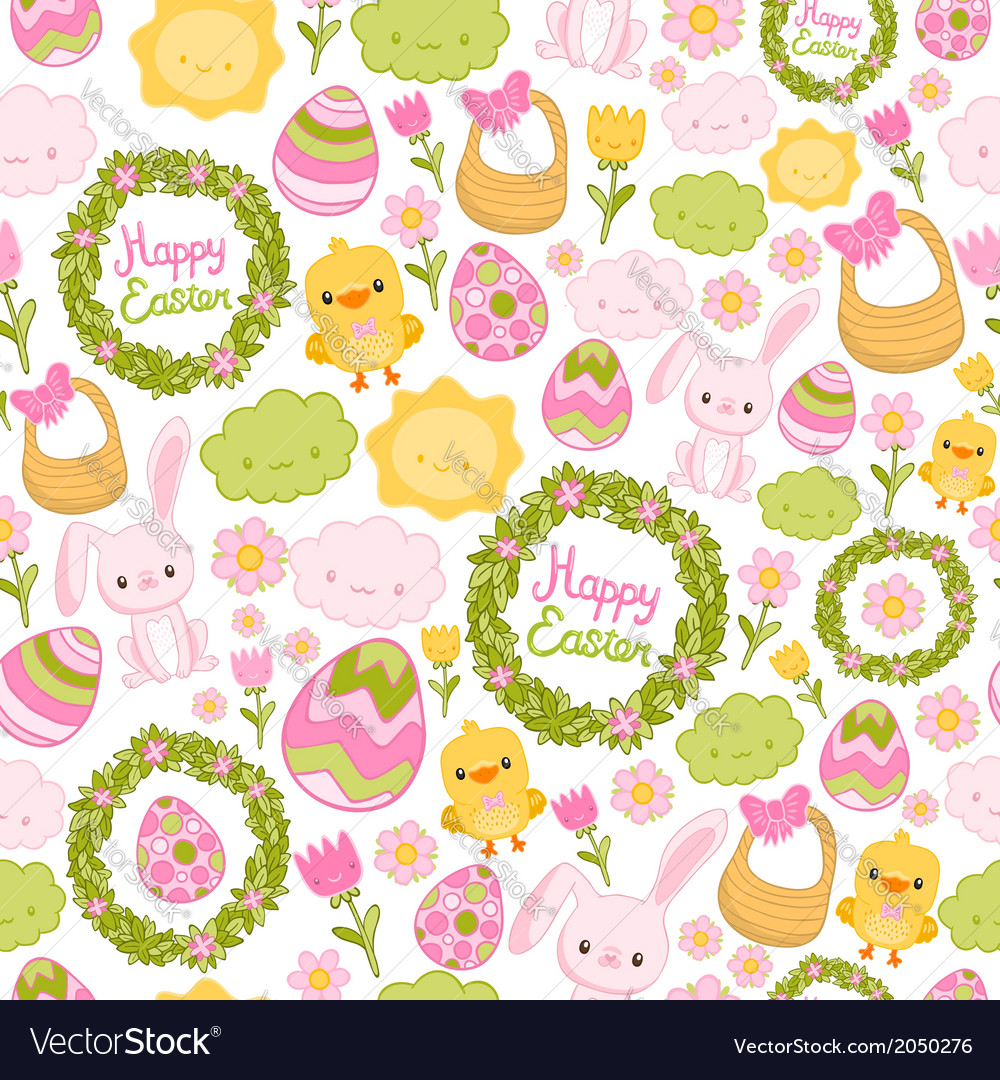 Happy easter seamless pattern vector | Price: 1 Credit (USD $1)