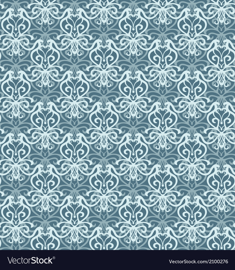 Intricate silver and blue luxury seamless pattern vector | Price: 1 Credit (USD $1)