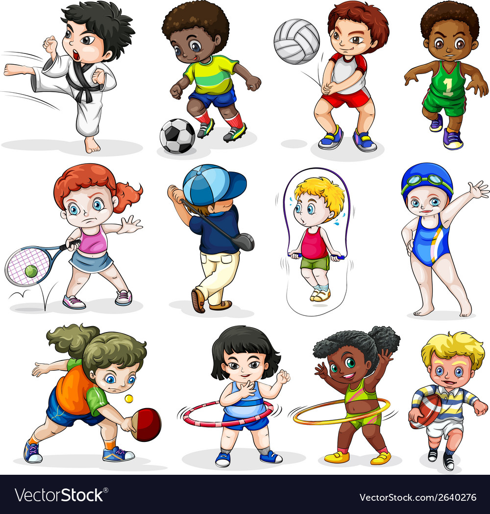 Kids engaging in different sports activities vector | Price: 3 Credit (USD $3)