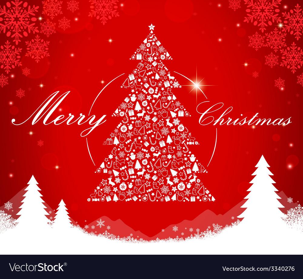 Merry christmas tree shape vector | Price: 1 Credit (USD $1)