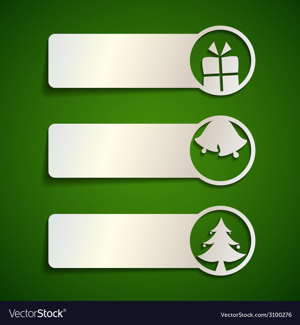 Paper banner set with christmas elements vector | Price: 1 Credit (USD $1)