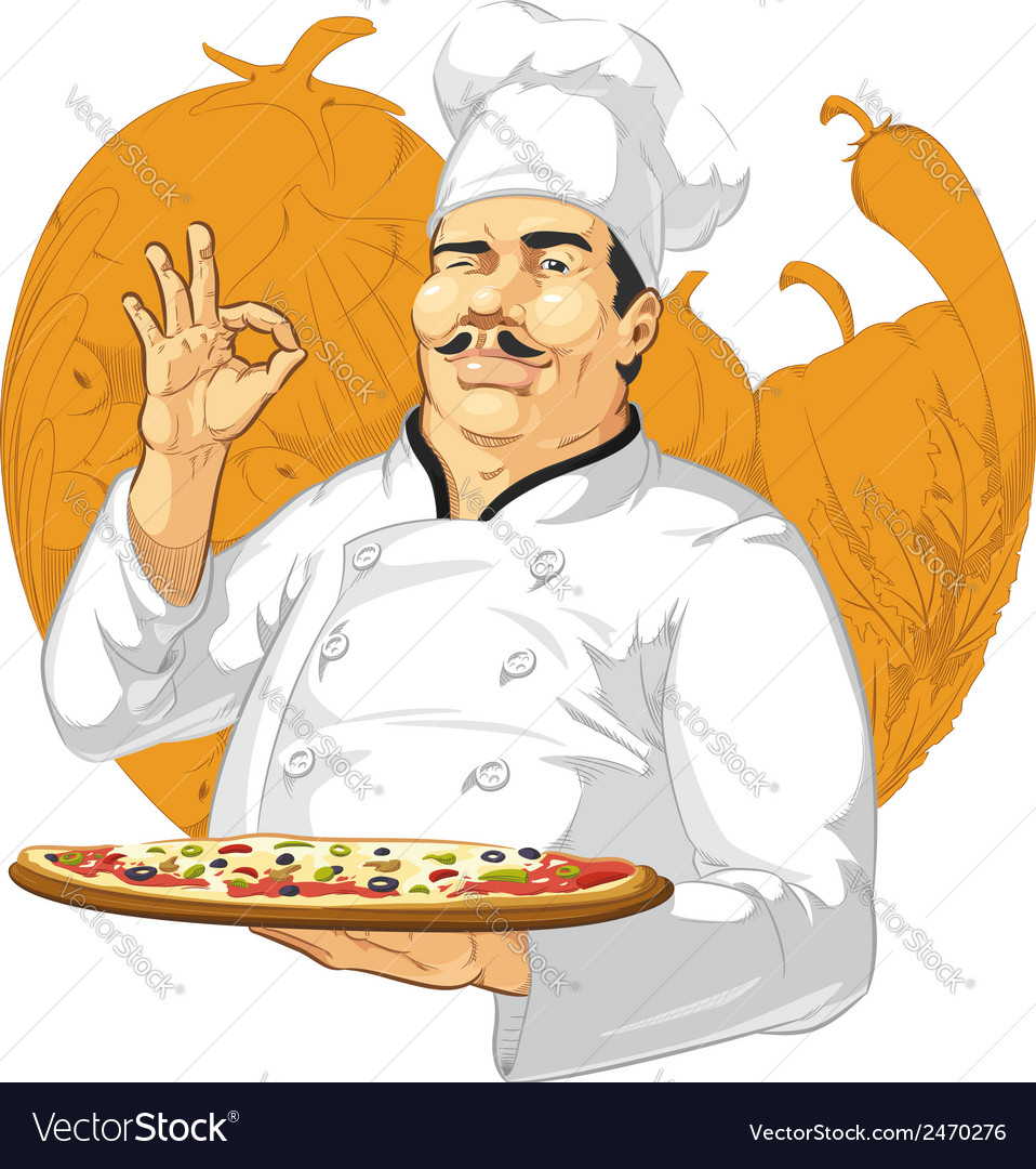 Pizzeria chef holding pizza pan vector | Price: 1 Credit (USD $1)