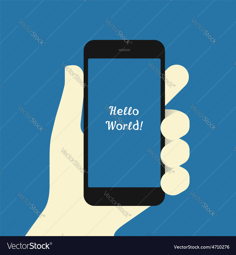 Smartphone in hand flat design template vector   Price: 1 Credit (USD $1)
