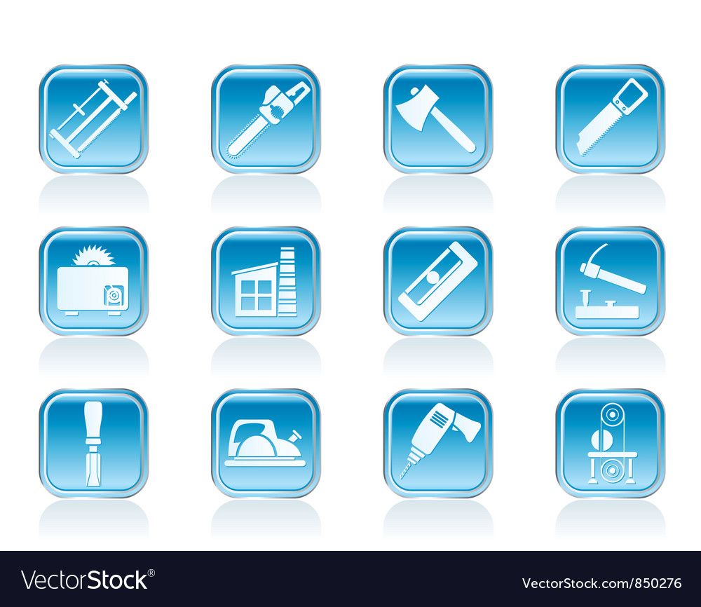 Woodworking industry and woodworking tools icons vector | Price: 1 Credit (USD $1)