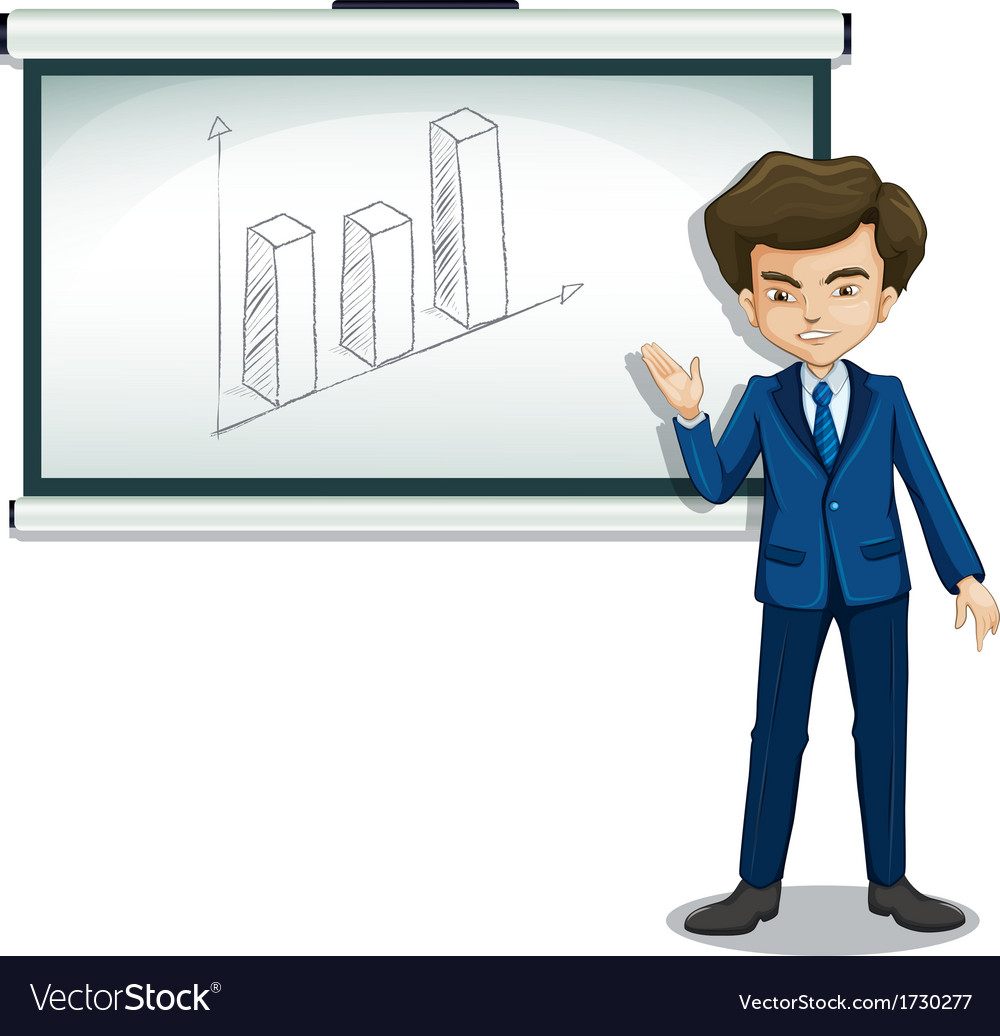 A man standing in front of a bulletin board with a vector | Price: 1 Credit (USD $1)