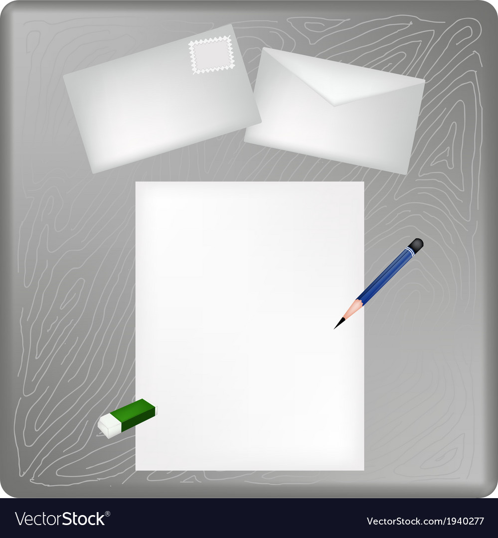 A pencil and eraser on a blank page and envelope vector | Price: 1 Credit (USD $1)