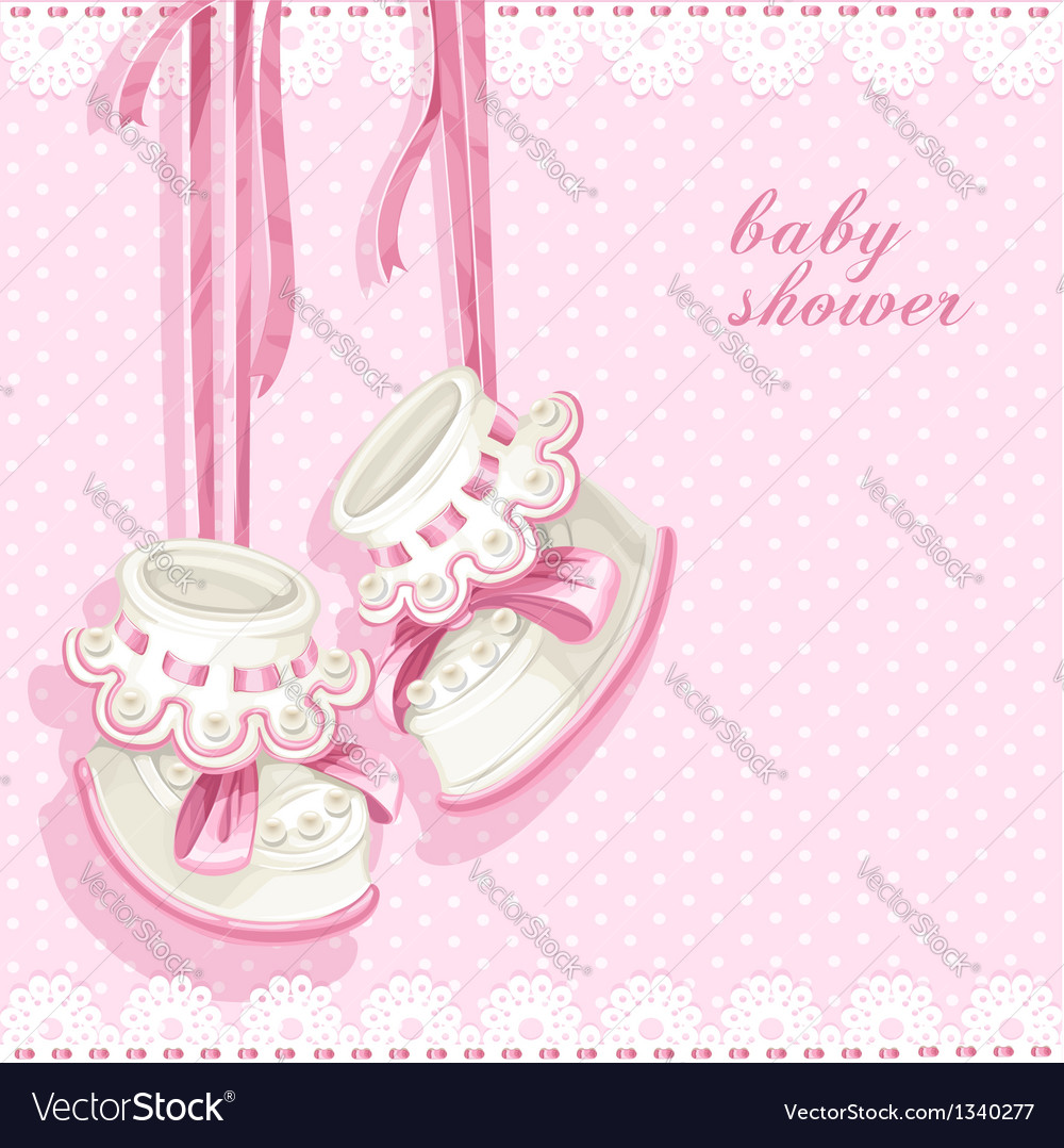 Baby shower card with pink booties and lace vector | Price: 1 Credit (USD $1)
