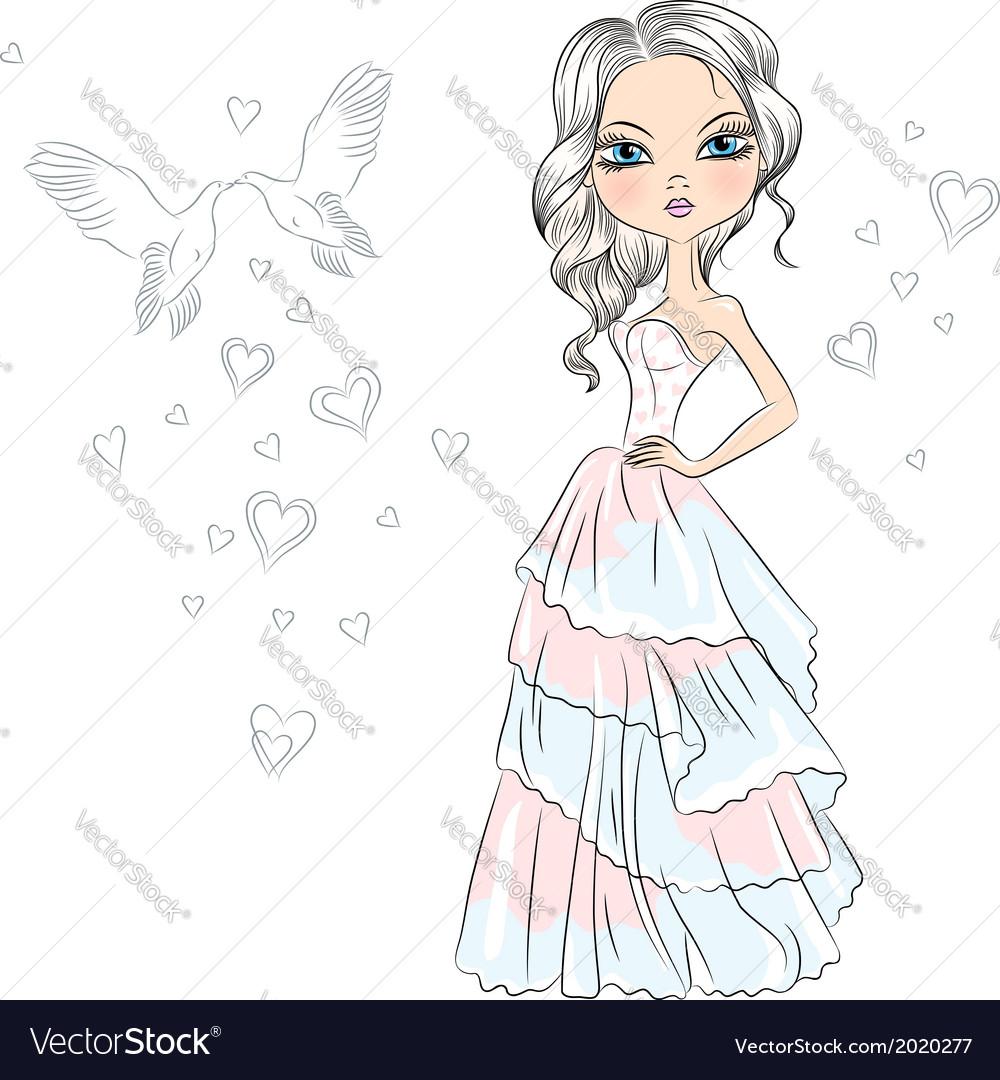 Beautiful fashionable girl bride vector | Price: 1 Credit (USD $1)