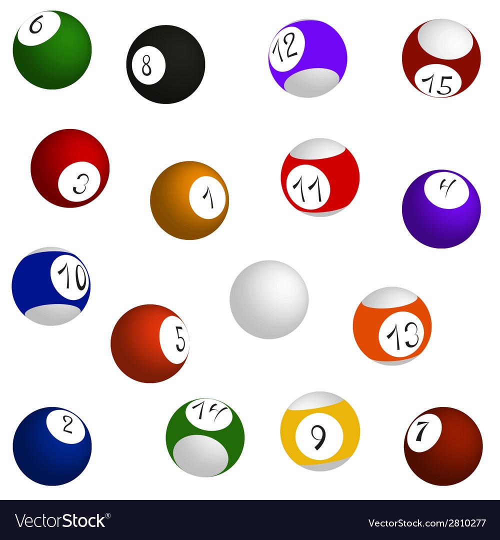 Billiard balls set vector | Price: 1 Credit (USD $1)