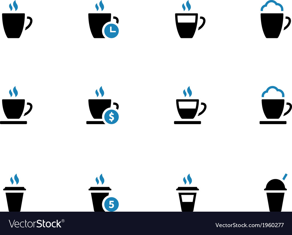Coffee mug duotone icons on white background vector | Price: 1 Credit (USD $1)