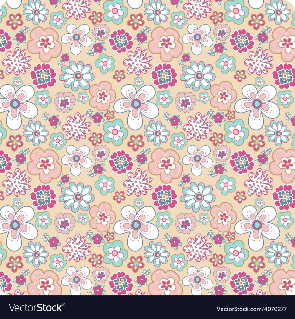 Flower background seamless pattern vector | Price: 1 Credit (USD $1)