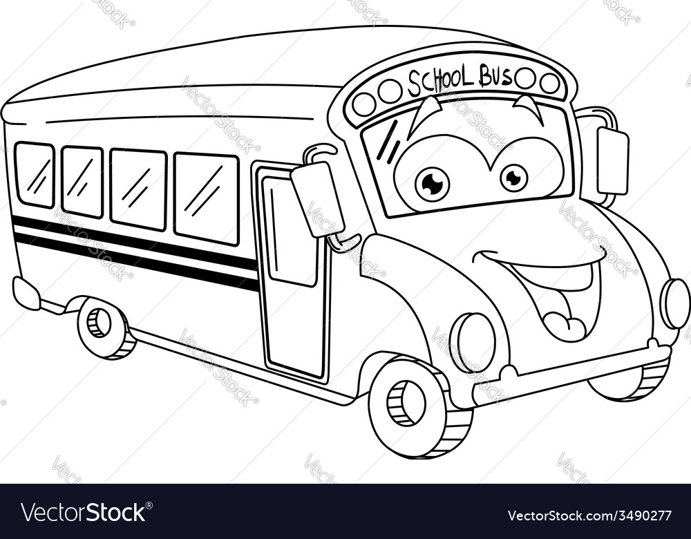 Outlined cartoon school bus vector