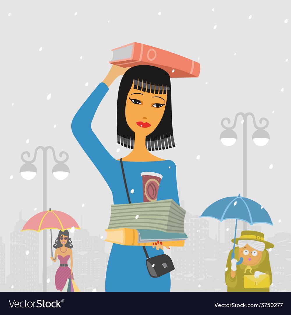 People walk in the rain vector   Price: 1 Credit (USD $1)