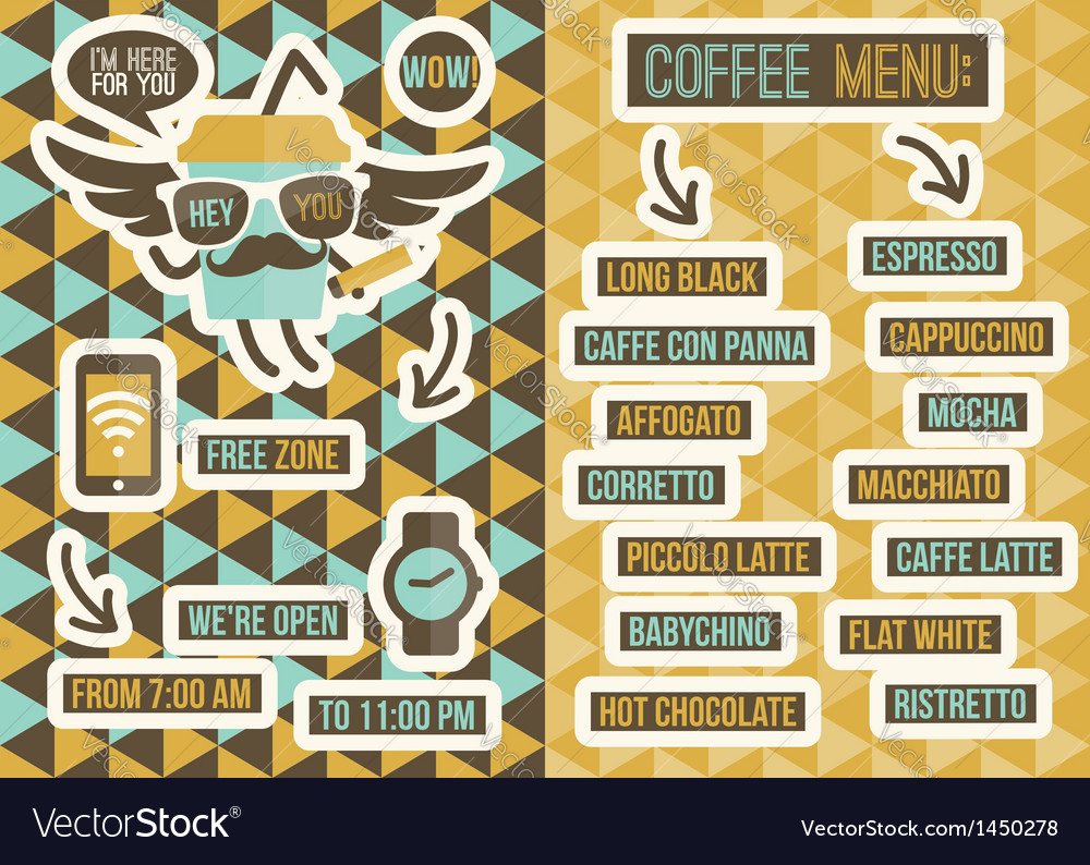 Cafe menu seamless backgrounds and design elements vector | Price: 1 Credit (USD $1)