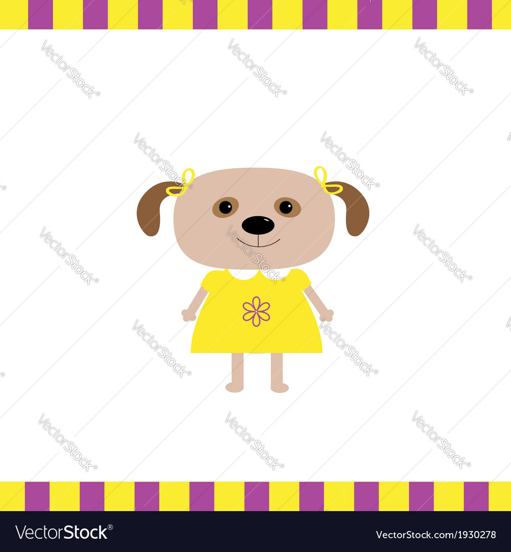 Cartoon dog girl card vector | Price: 1 Credit (USD $1)