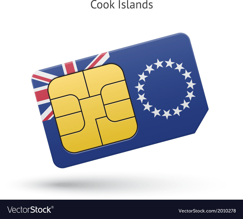 Cook islands mobile phone sim card with flag vector | Price: 1 Credit (USD $1)
