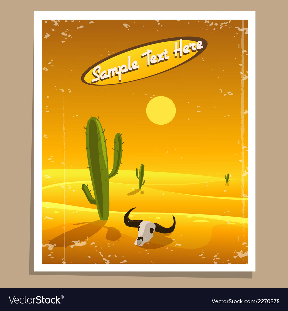 Desert retro poster vector | Price: 3 Credit (USD $3)