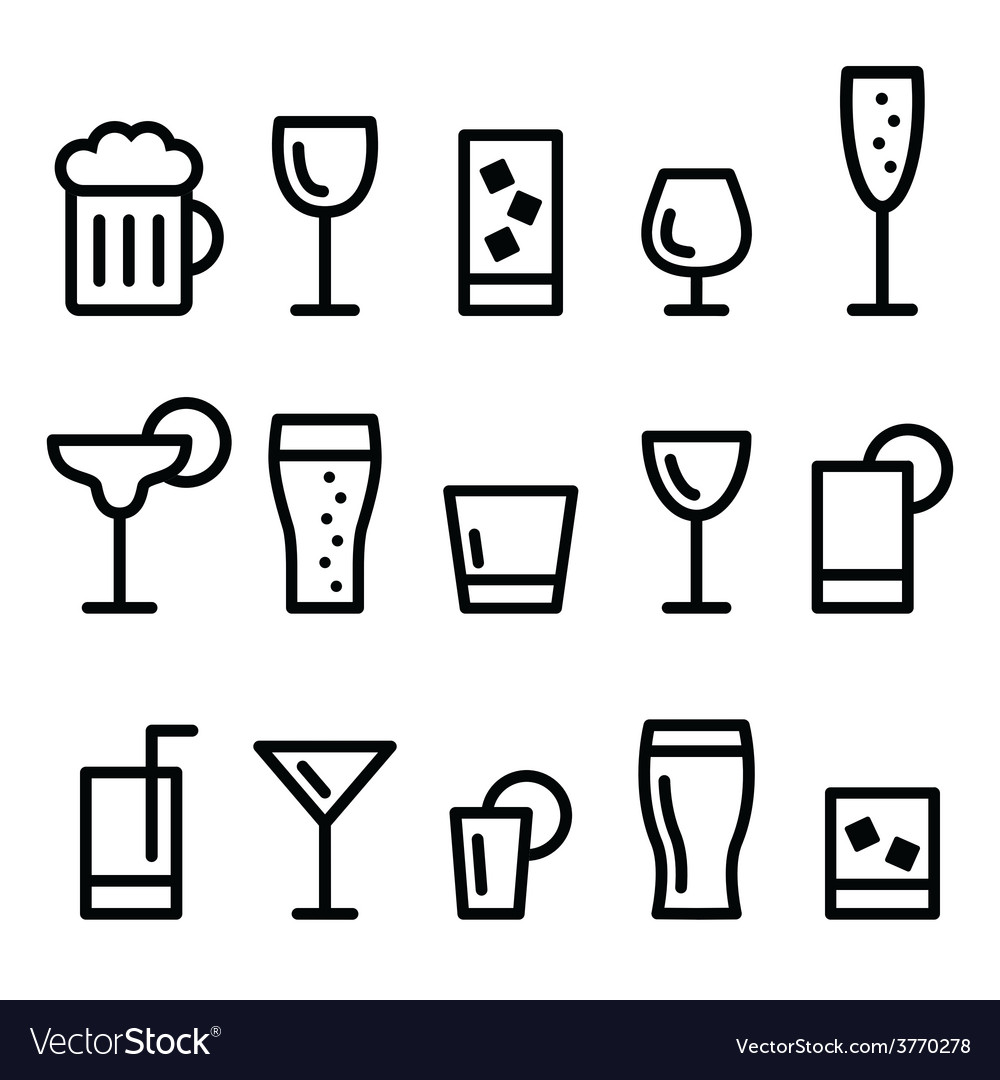 Drink alcohol beverage line icons set vector | Price: 1 Credit (USD $1)