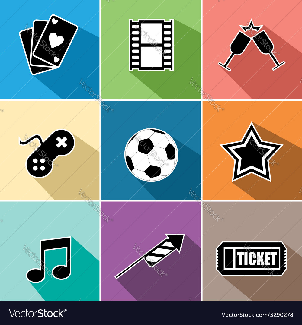 Entertainment icons set flat design vector | Price: 1 Credit (USD $1)