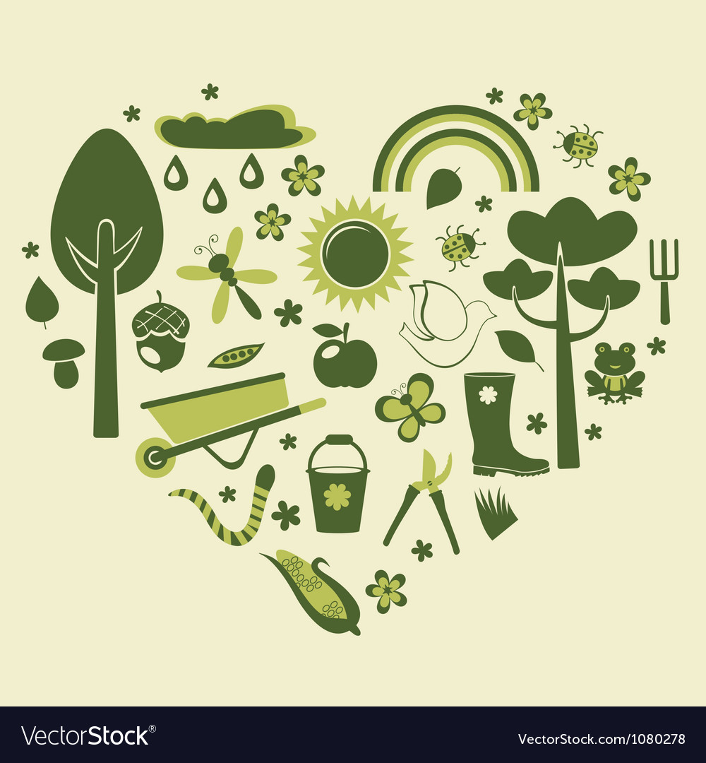 Heart gardening vector | Price: 3 Credit (USD $3)