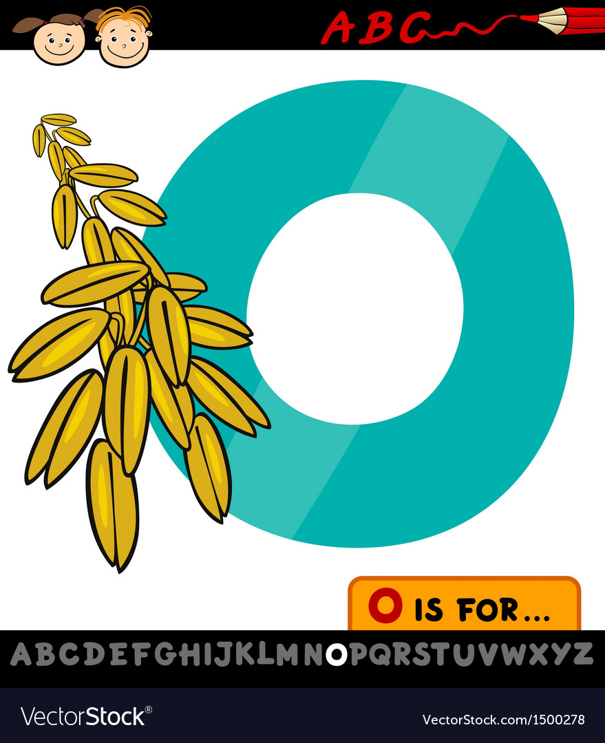Letter o with oat cartoon vector | Price: 1 Credit (USD $1)