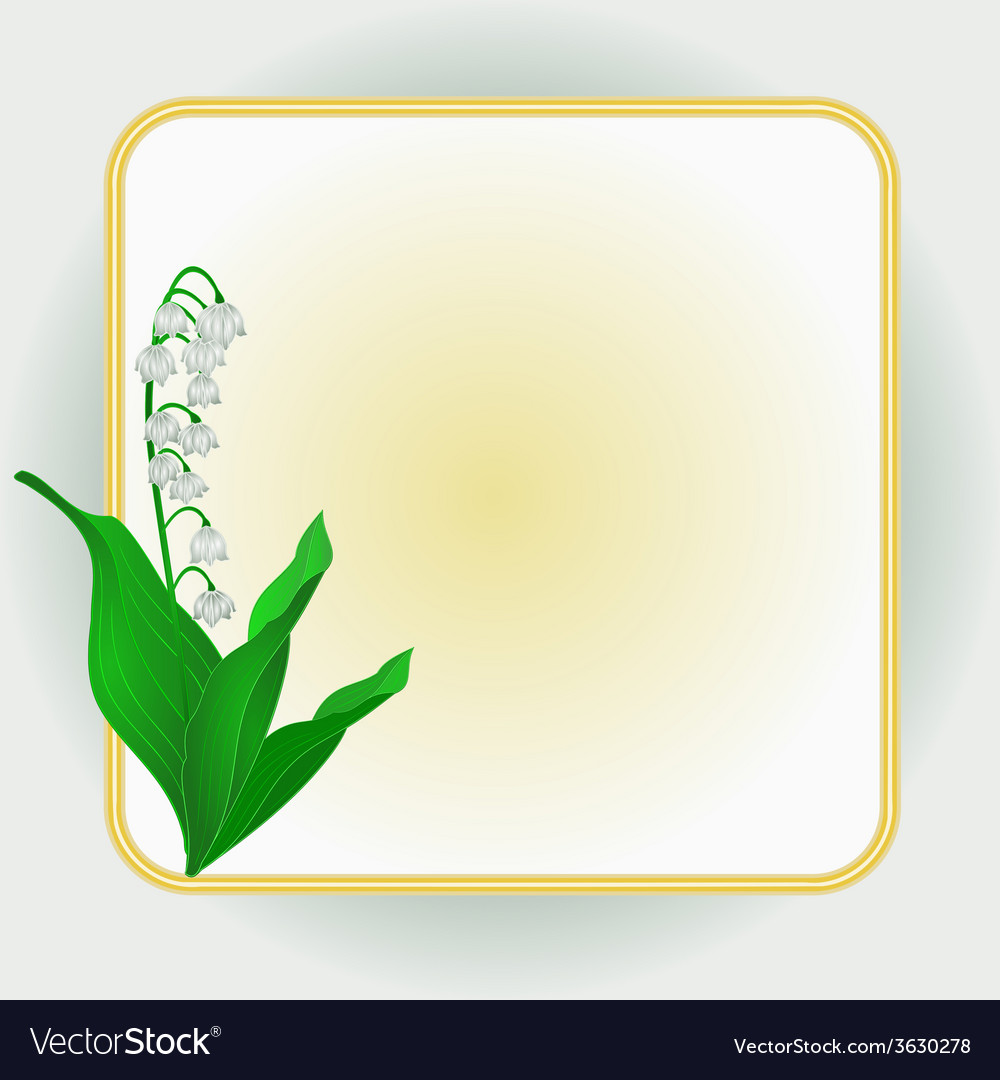 Lily of the valley spring flower background frame vector | Price: 1 Credit (USD $1)