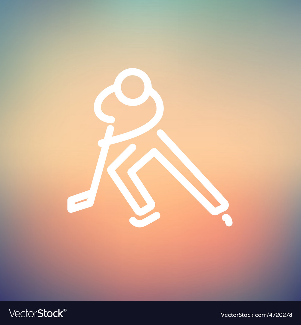 Moving hockey player thin line icon vector | Price: 1 Credit (USD $1)