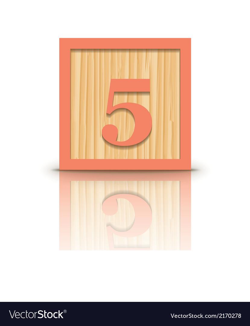 Number 5 wooden alphabet block vector | Price: 1 Credit (USD $1)