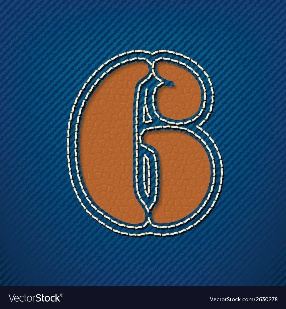 Number 6 made from leather on jeans background vector | Price: 1 Credit (USD $1)