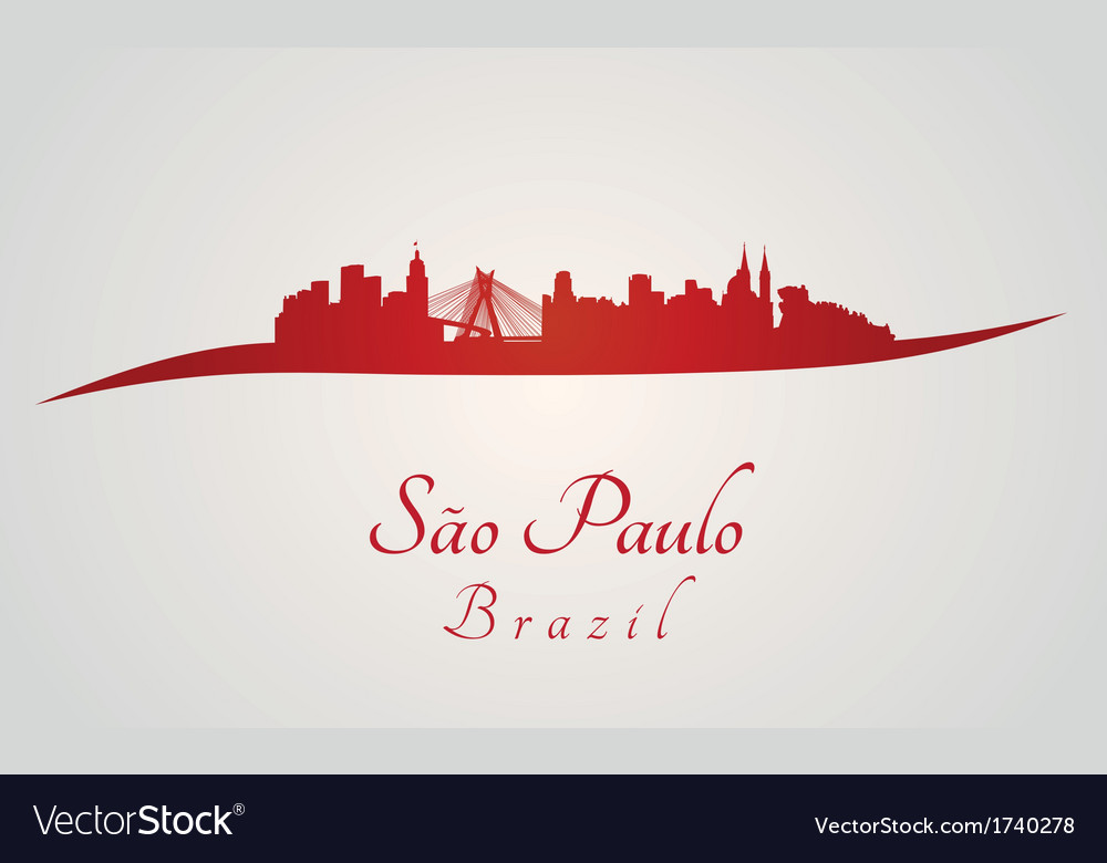 Sao paulo skyline in red vector | Price: 1 Credit (USD $1)