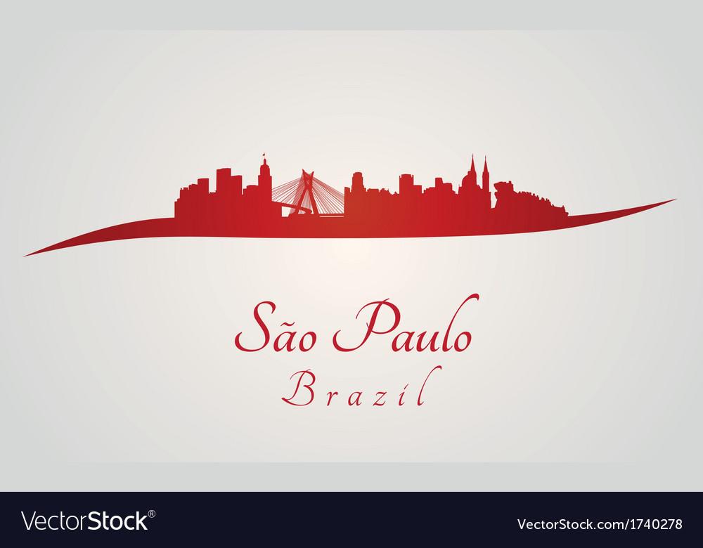 Sao paulo skyline in red vector   Price: 1 Credit (USD $1)