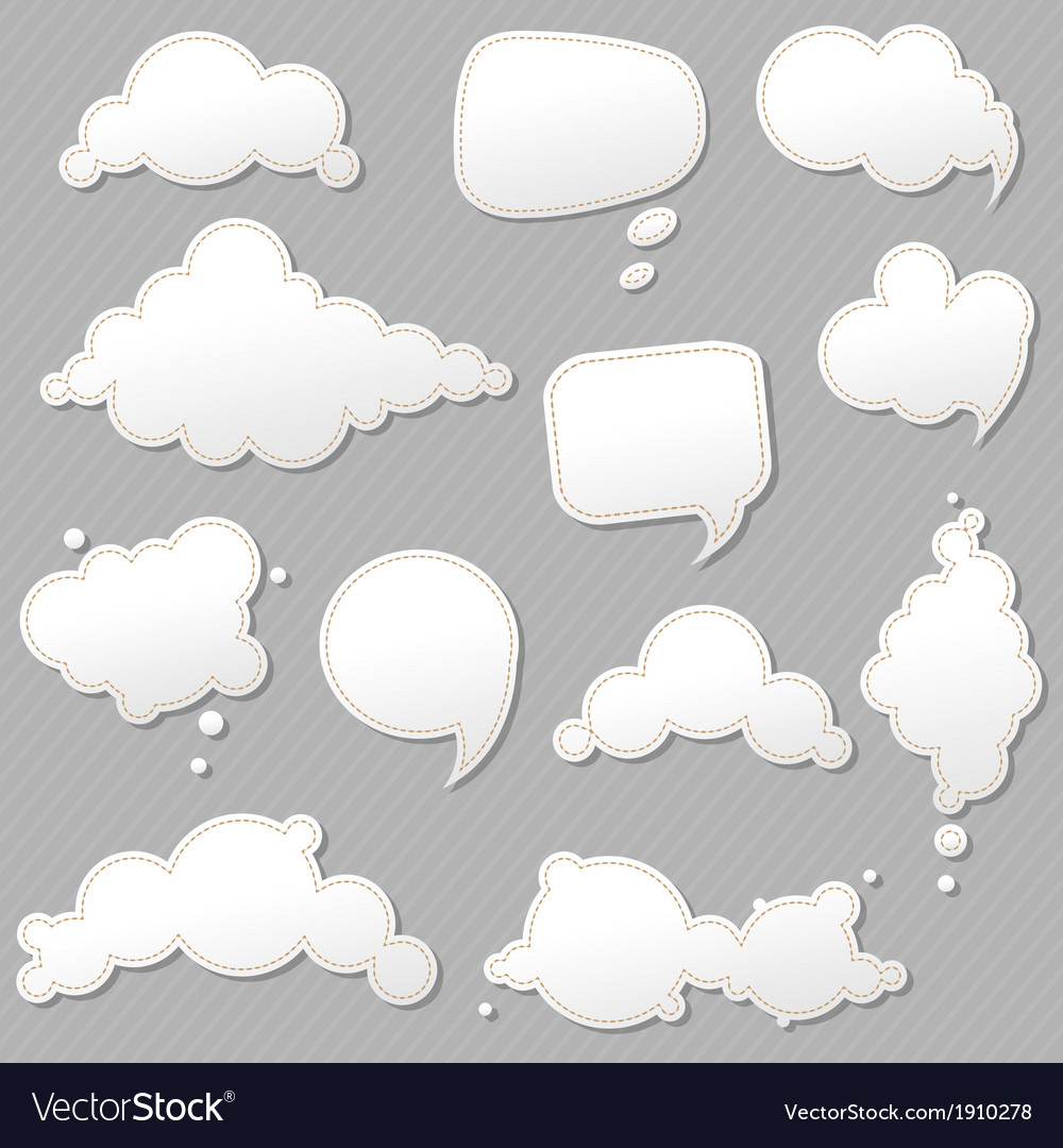 Speech bubbles set with grey background vector | Price: 1 Credit (USD $1)